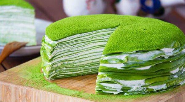 Японский блинный торт с чаем Матча и сливочным кремом. Семья будет в восторге! Он «Тает» во рту!