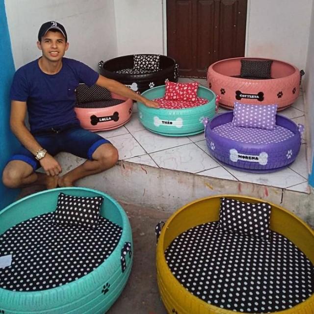 Бразилец подбирает старые грязные шины и делает из них уютные лежанки для домашних животных. 12 трогательных Фото...